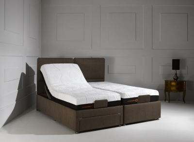 Dormeo Octaspring Sorrento Adjustable Cayenne Brown Fabric Divan Bed with 6500 Mattress