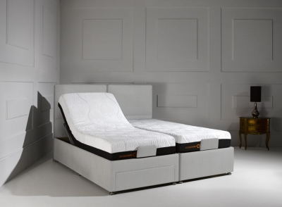 Dormeo Octaspring Sorrento Adjustable Silver Mist Fabric Divan Bed with 6500 Mattress