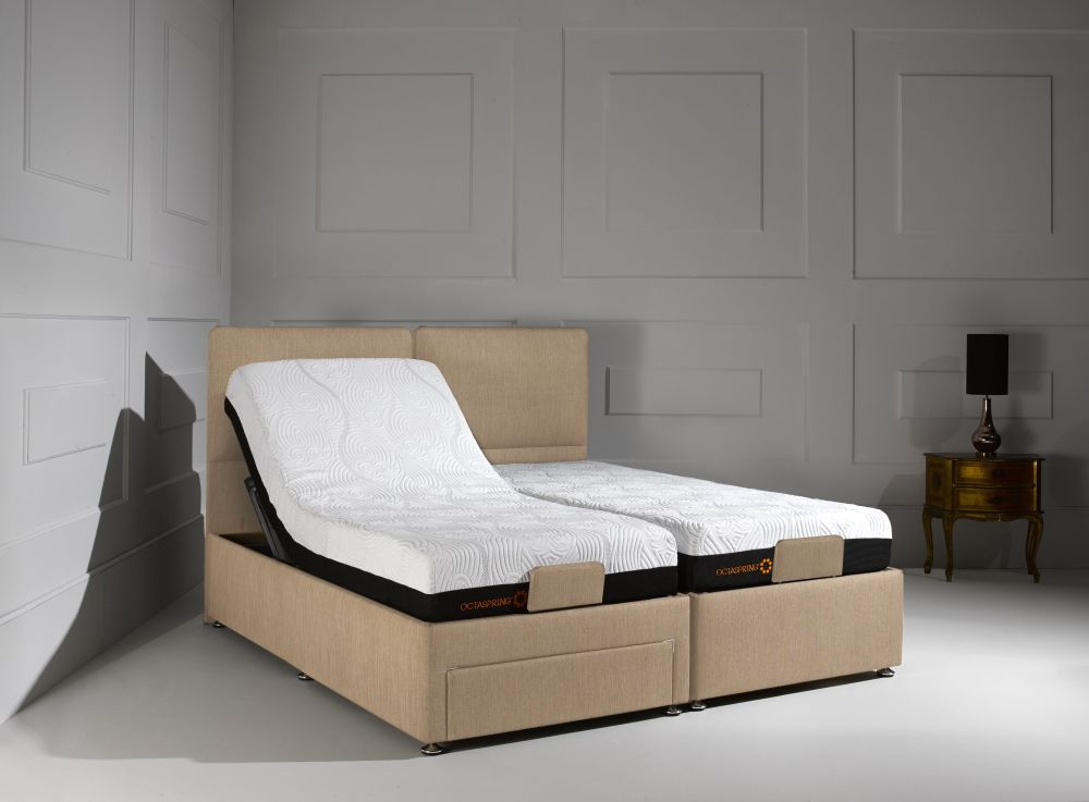 Dormeo Octaspring Sorrento Adjustable Brown Sugar Fabric Divan Bed with 6500 Mattress