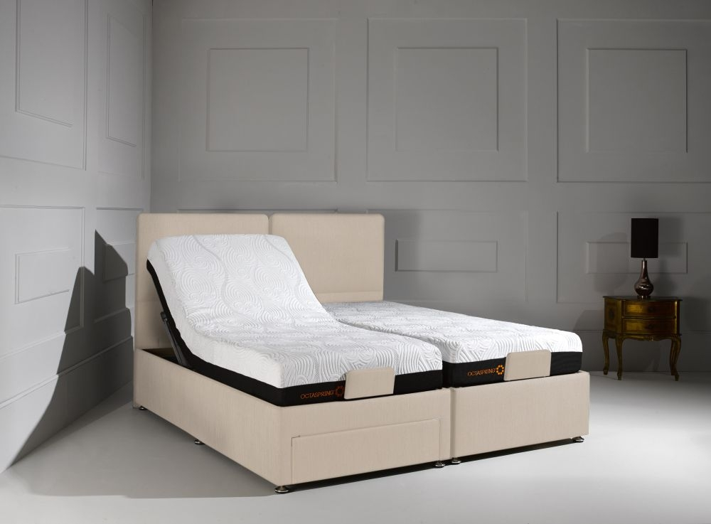 Buy Dormeo Octaspring Sorrento Adjustable White Sand Fabric Divan Bed With 6500 Mattress Online