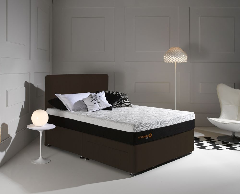 Dormeo Octaspring Tiffany Chocolate Fabric Divan Bed with Hybrid Mattress