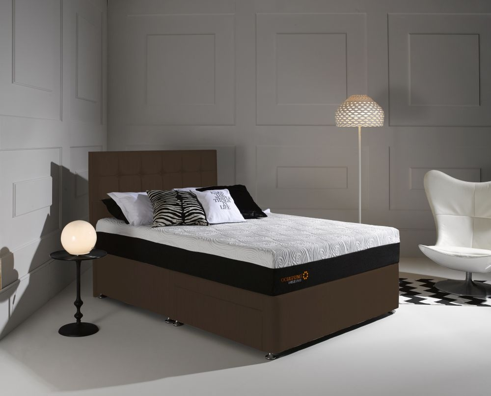 Dormeo Octaspring Tiffany Chocolate Fabric Divan Bed with Hybrid Plus Mattress