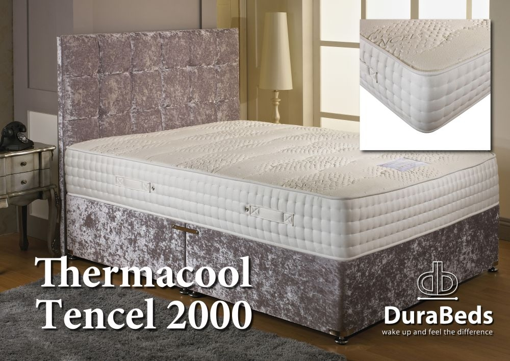 mattress 2000 pocket springs. dura beds thermacool tencel 2000 pocket divan bed mattress springs e