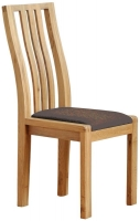 Ercol Bosco Oak Dining Chair with Brown Faux Leather Seat