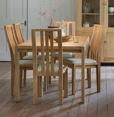 Ercol Bosco Oak Large Extending Dining Table and Cream Chairs