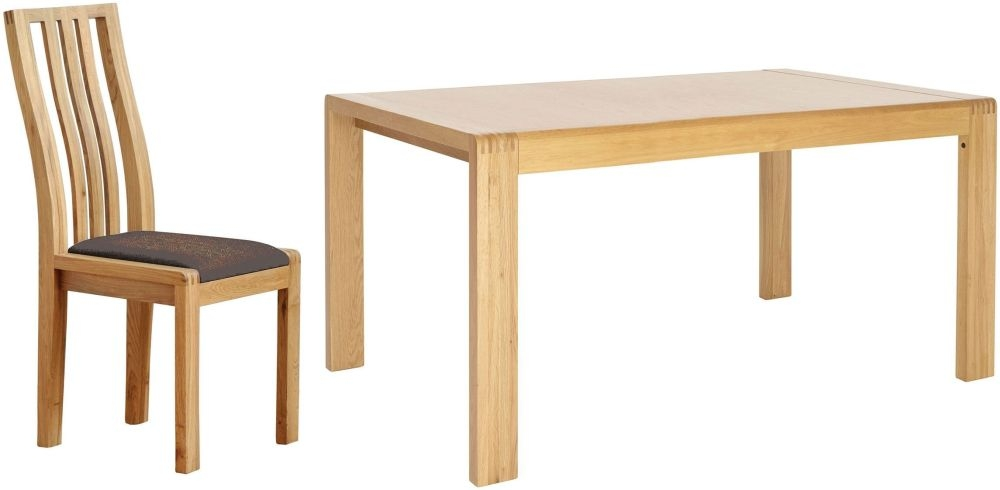 Ercol Bosco Extending Dining Table and Chairs - Oak and Brown