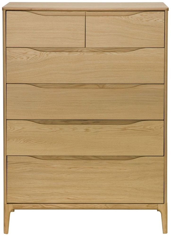 Ercol Rimini Oak 6 Drawer Wide Chest