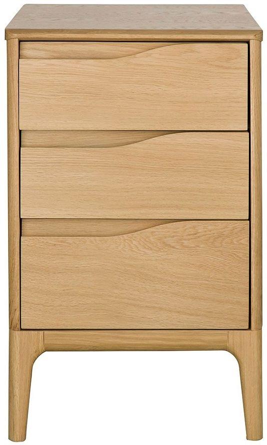 Ercol Rimini Oak 3 Drawer Bedside Cabinet