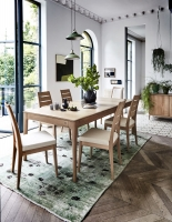 Ercol Romana Oak Medium Extending Dining Table with 4 Chairs and 2 Padded Back Chairs