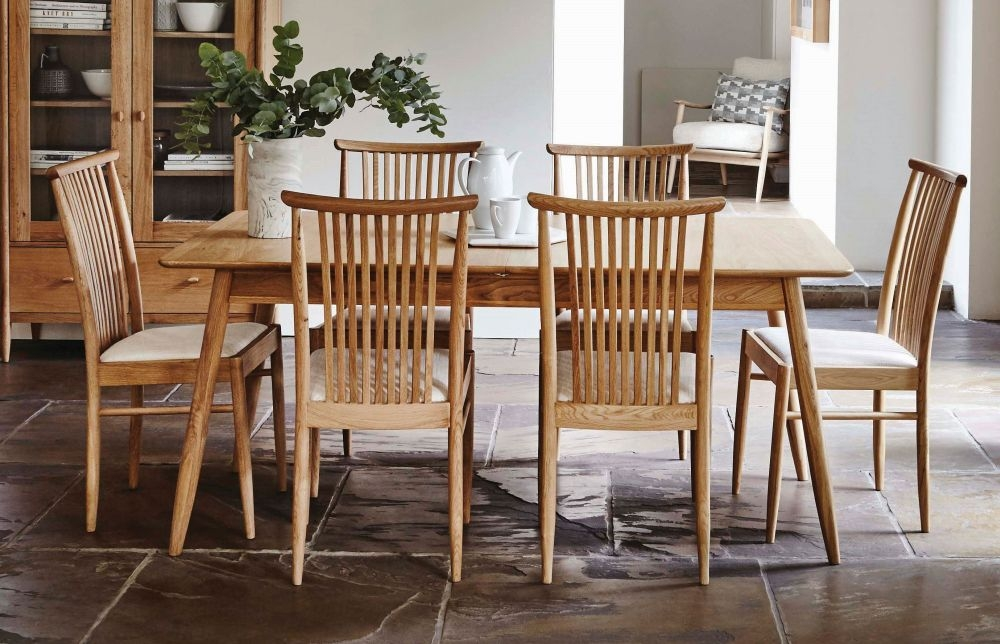 Ercol Teramo Oak Large Extending Dining Table and 6 Chairs