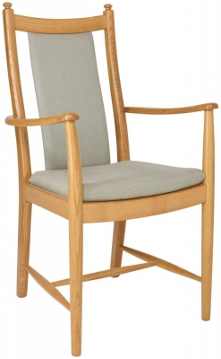 Ercol Penn Oak Padded Back Dining Armchair