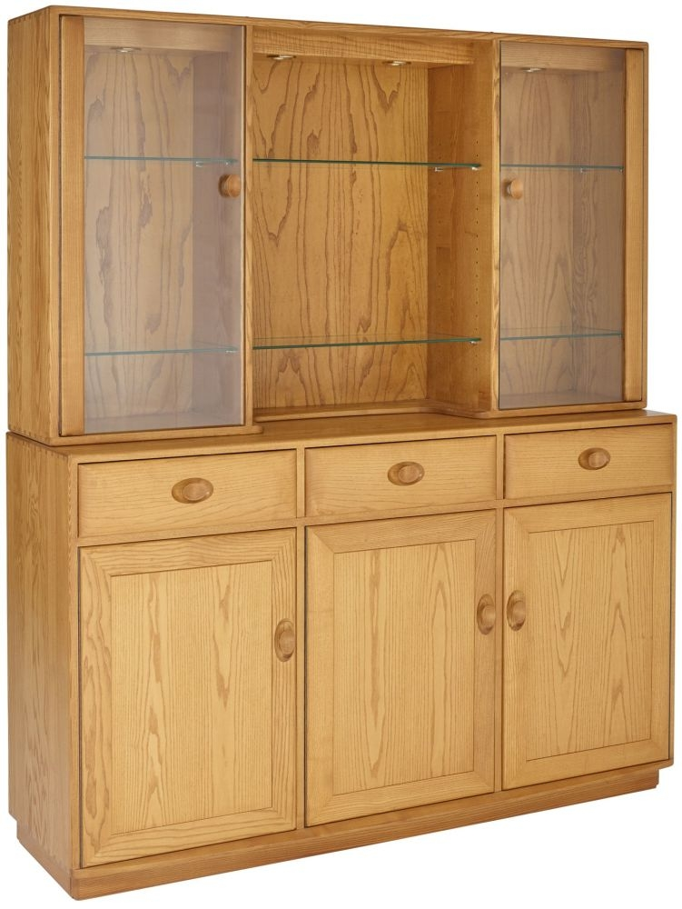 Ercol Windsor 3 Door High Sideboard with Display Top