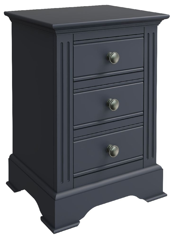 Ashby Midnight Grey Painted 3 Drawer Bedside Cabinet