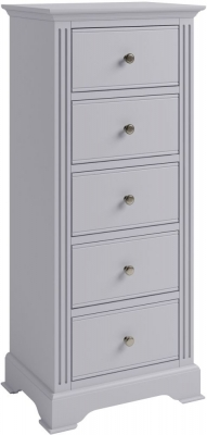 Ashby Moonlight Grey Painted 5 Drawer Tall Chest