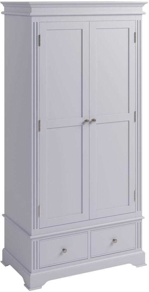 Ashby Moonlight Grey Painted 2 Door 2 Drawer Wardrobe