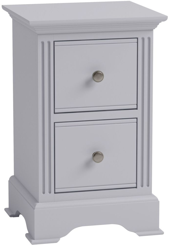 Ashby Moonlight Grey Painted 2 Drawer Bedside Cabinet