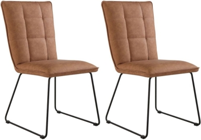 Panel Back Tan Faux Leather Dining Chair (Pair)
