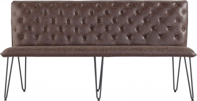Studded Back 180cm Brown Faux Leather Bench