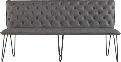 Studded Back 180cm Grey Faux Leather Bench