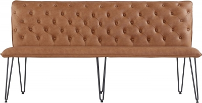 Studded Back 180cm Tan Faux Leather Bench
