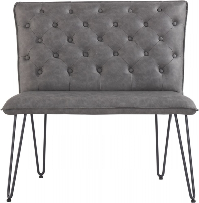 Studded Back 90cm Grey Faux Leather Bench