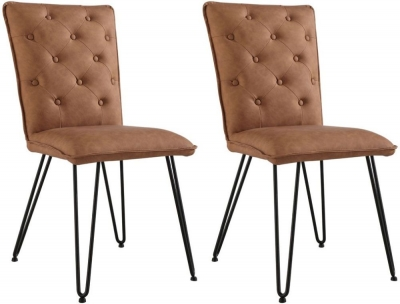 Studded Back Tan Faux Leather Dining Chair (Pair)
