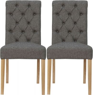 Dark Grey Fabric Scroll Back Dining Chair (Pair)