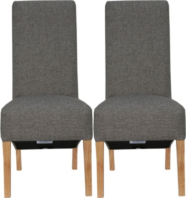 Dark Grey Fabric Scroll Back Fabric Chair (Pair)