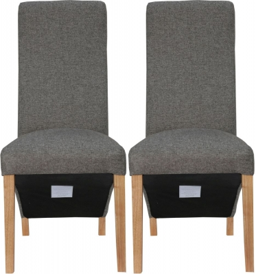 Dark Grey Fabric Wave Back Fabric Chair (Pair)