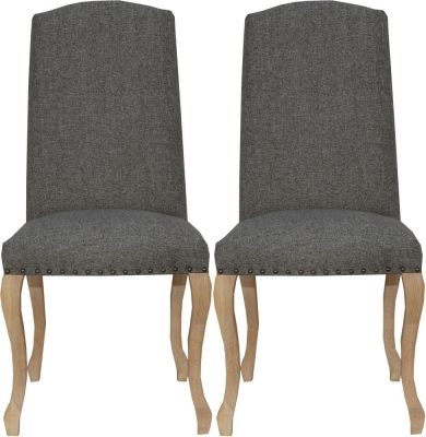 Luxury Dark Grey Fabric Dining Chair (Pair)