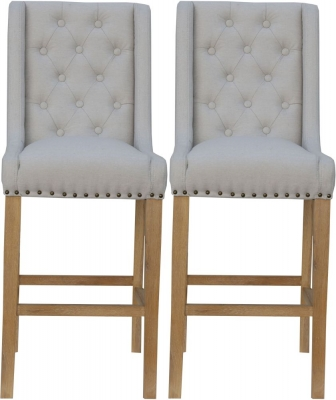 Natural Fabric Button Back Bar Stool (Pair)