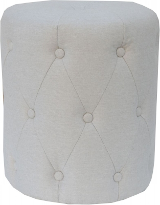 Natural Fabric Round Stool