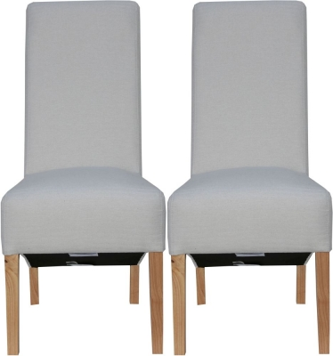 Natural Fabric Scroll Back Fabric Chair (Pair)