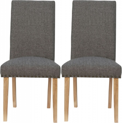 Straight Back Dark Grey Fabric Chair (Pair)