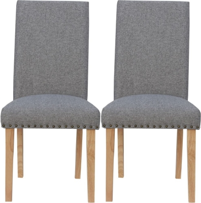 Straight Back Light Grey Fabric Chair (Pair)