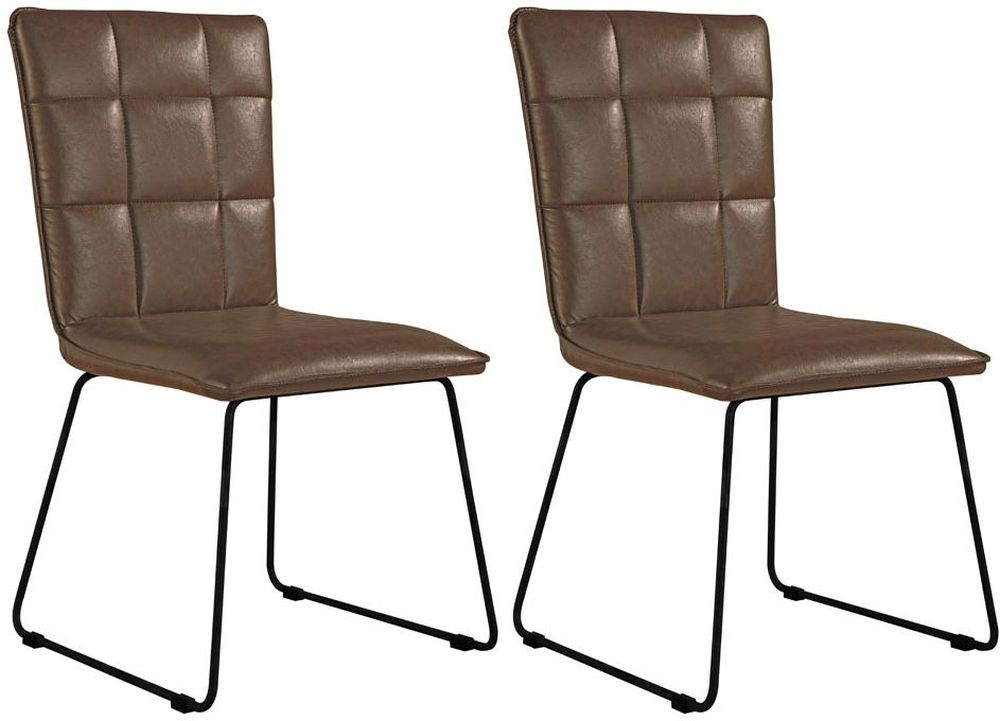 Panel Back Brown Faux Leather Dining Chair (Pair)