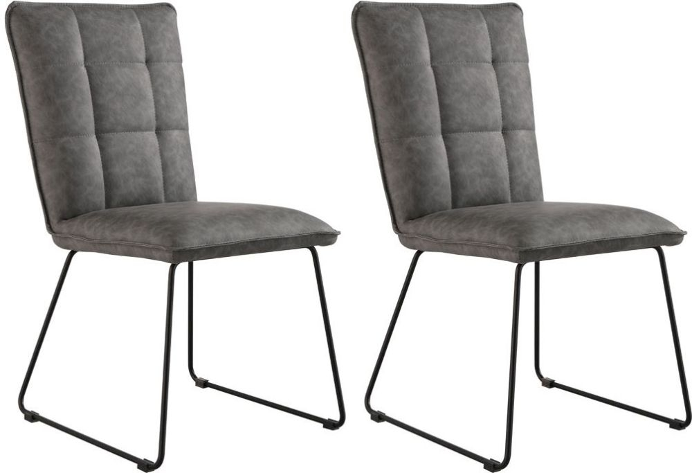 Panel Back Grey Faux Leather Dining Chair (Pair)