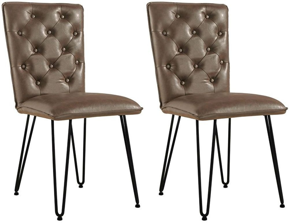 Studded Back Brown Faux Leather Dining Chair (Pair)