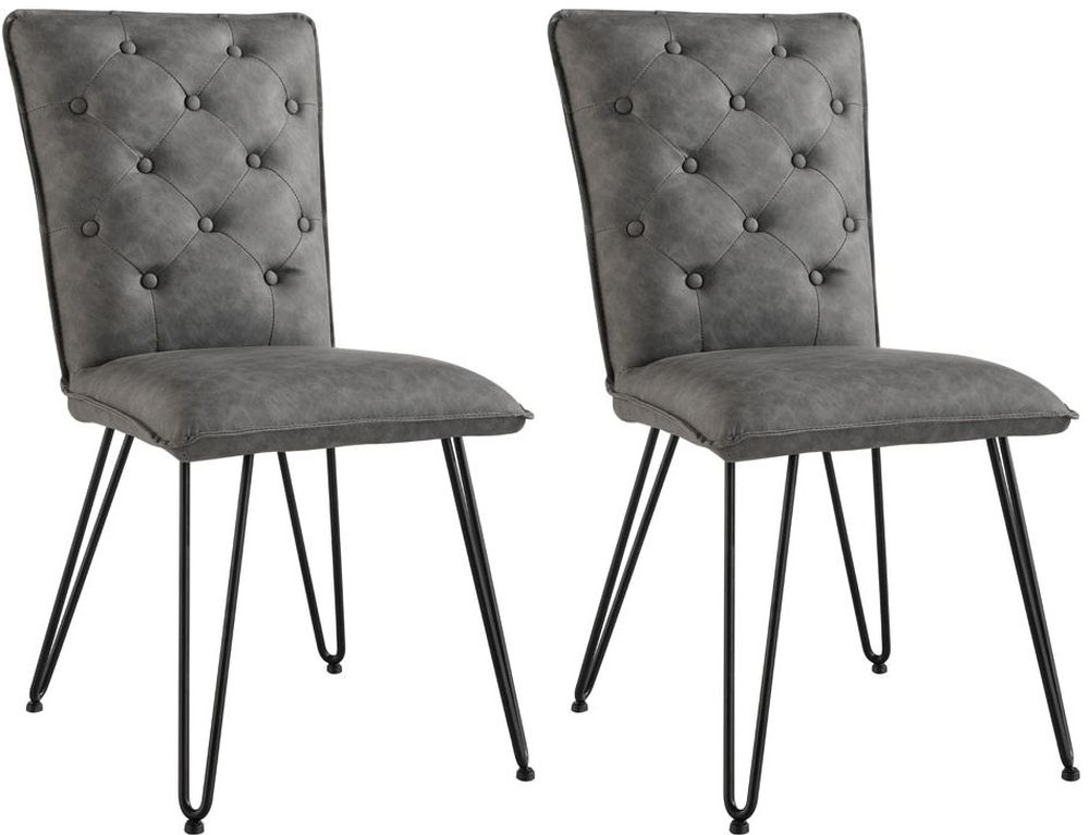 Studded Back Grey Faux Leather Dining Chair (Pair)