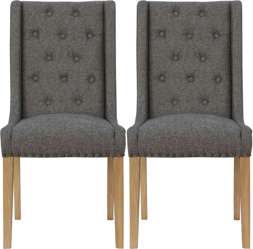 Button Back Dark Grey Fabric Dining Chair (Pair)