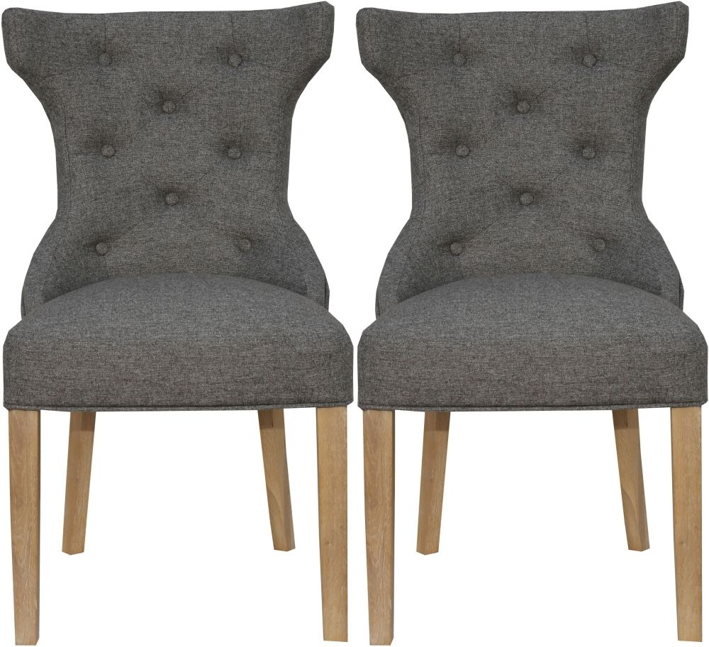 Dark Grey Fabric Winged Button Back Dining Chair (Pair)