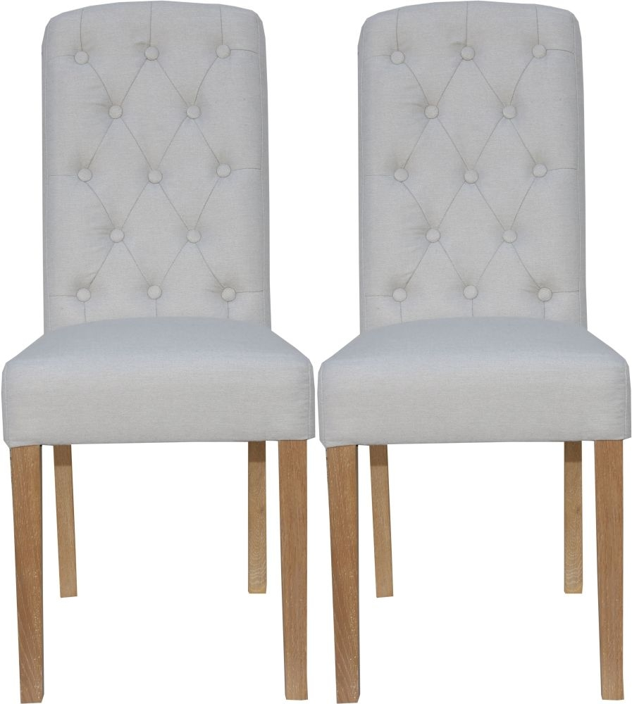 Natural Fabric Button Back Dining Chair (Pair)