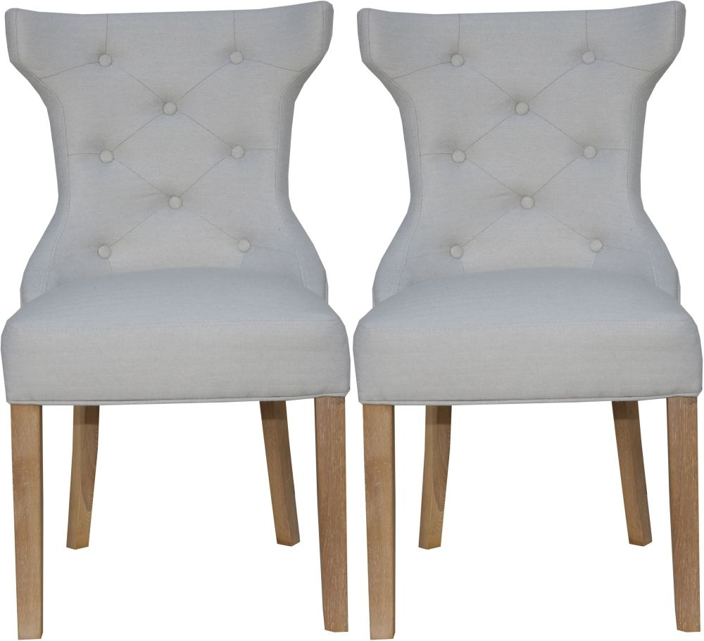 Natural Fabric Winged Button Back Dining Chair (Pair)
