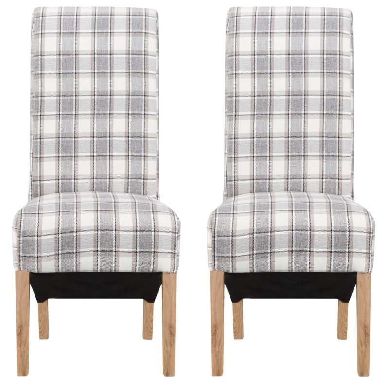 Sorrel Cappucino Check Dining Chair (Pair)