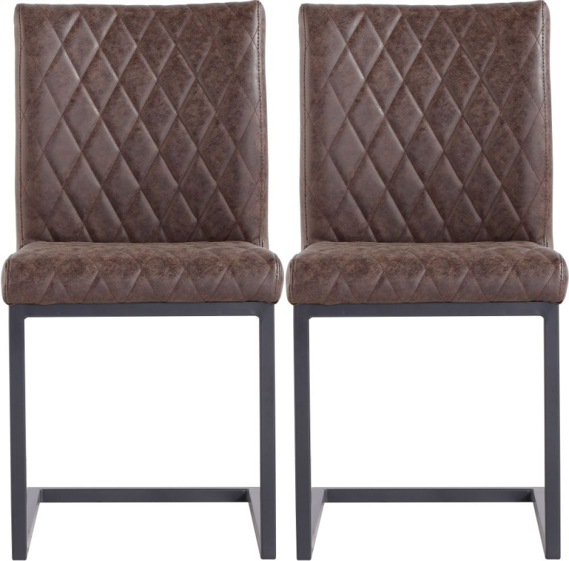 Diamond Stitch Brown Faux Leather Dining Chair (Pair)