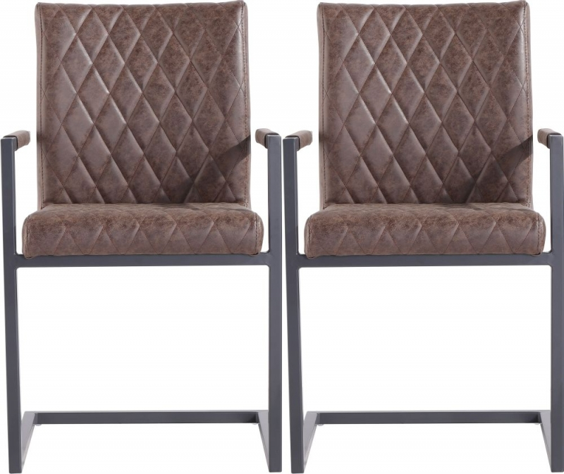 Diamond Stitch Carver Brown Faux Leather Dining Chair (Pair)