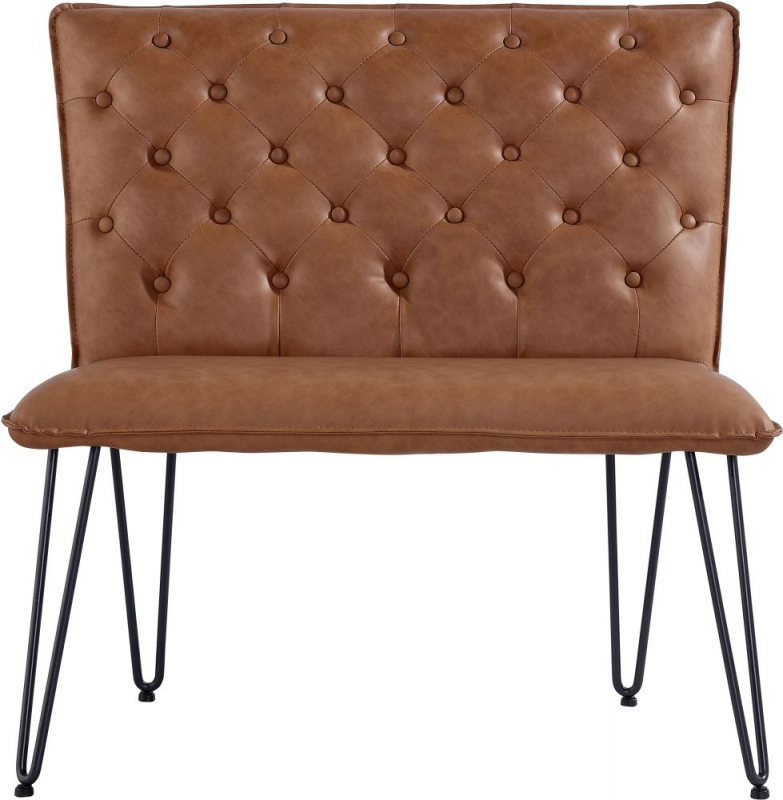 Studded Back 90cm Tan Faux Leather Bench