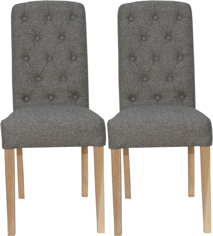 Dark Grey Fabric Button Back Dining Chair (Pair)