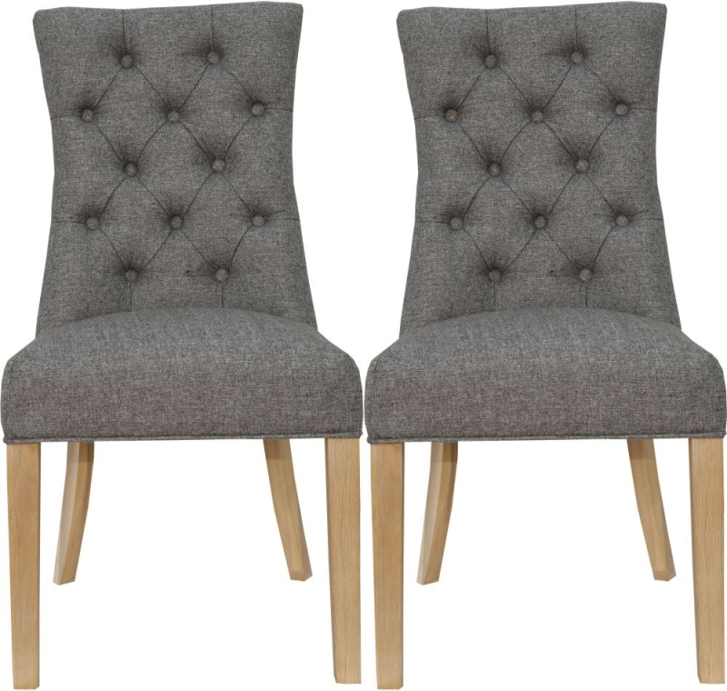 Dark Grey Fabric Curved Button Back Dining Chair (Pair)