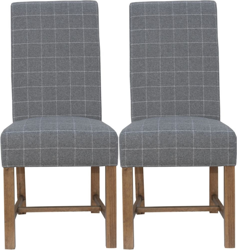 Hoxie Check Grey Fabric Dining Chair (Pair)